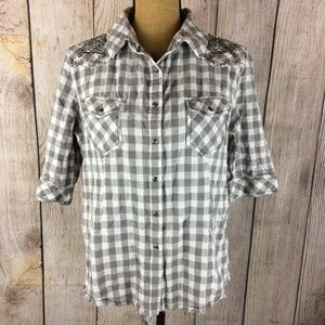 Shyanne Grey White Gingham Snap Front  Shirt Sz L